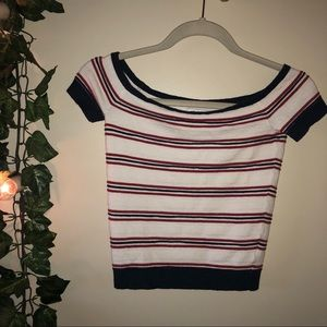 Red White and Blue Scoop Crop Top